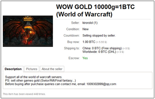 Bitcoins for World of Warcraft Virtual Gold? Just Look to Bitmit net
