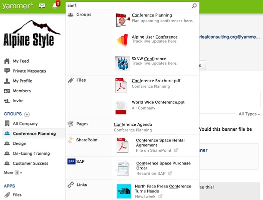 Yammer Universal Search Screenshot