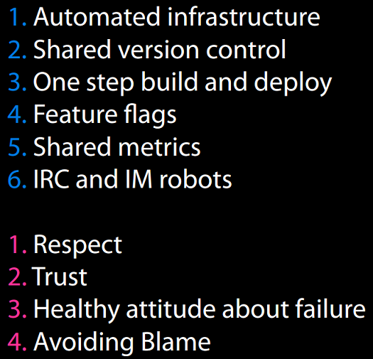 John Allspaw's rules for DevOps