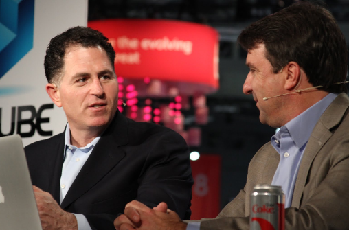 Michael Dell and John Furrier on #theCube at #DellWorld 2012