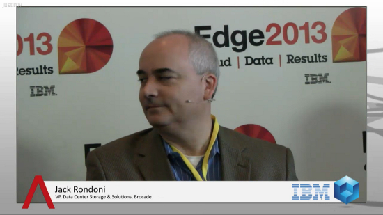 """Flash will be as disruptive to the data center as server virtualization,"" says Brocade's Jack Rondoni #IBMEdge"