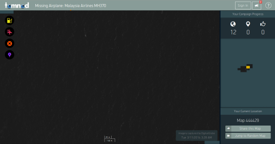 A screen grab of Tomnod's satellite image platform