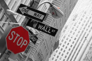 wall street wall st stop sign black and white urban city NYC financial district