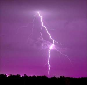flash lightening purple sky