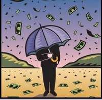 money rain storm umbrella