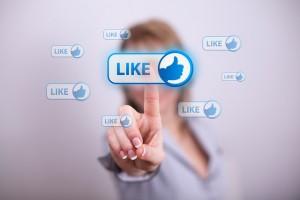 facebook like user finger click