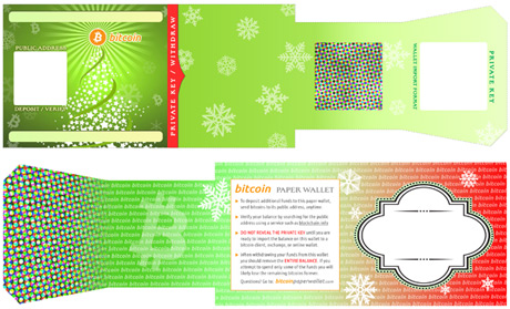 A Christmas-themed template from bitcoinpaperwallet.com
