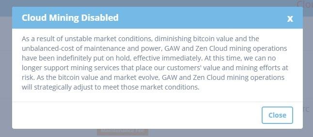 ZenMiner shutdown notice