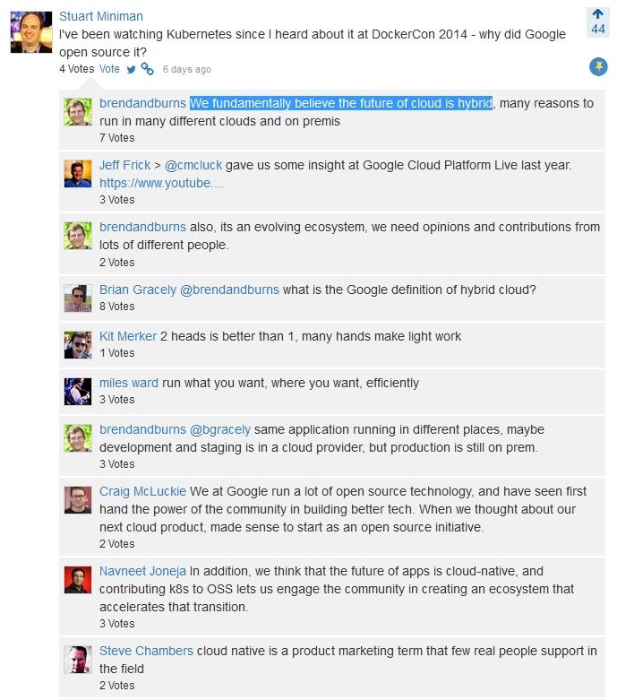 Screen cap 1 Google Cloud CrowdChat