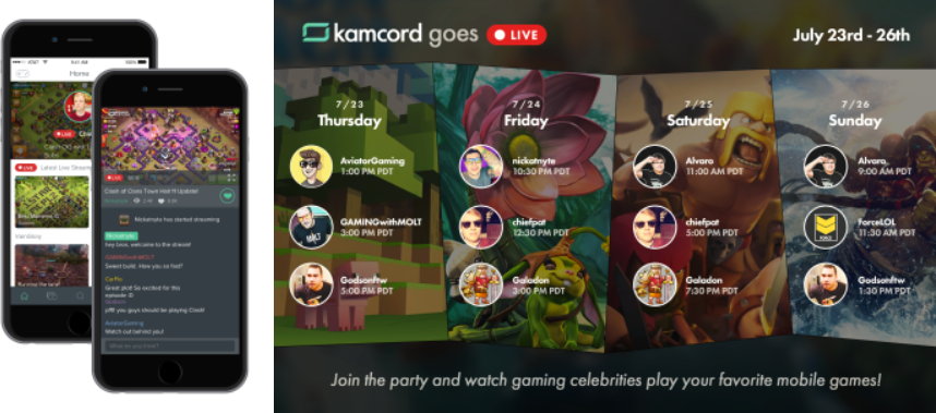 Gameplay recording platform Kamcord launches easy mobile game livestreaming