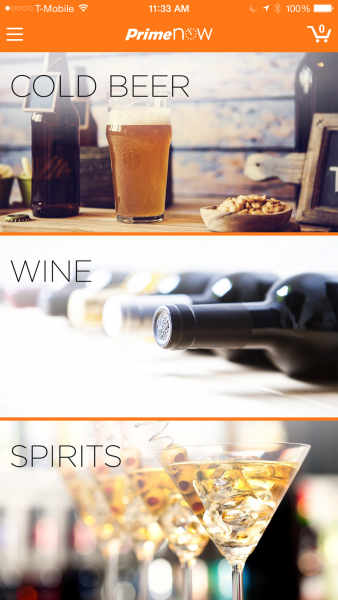 The Amazon Prime Now app has new beer, wine, and spirits categories.