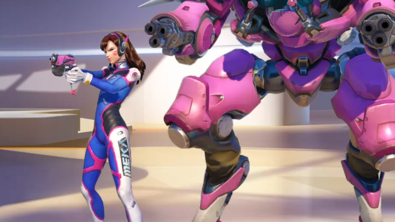 D.Va brings her skills as a pro-gamer to the battlefield with her pink mecha.