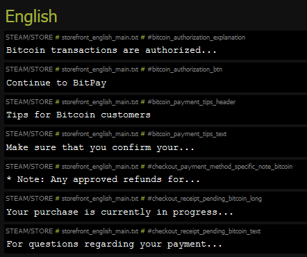 BitPay API commands discovered in Steam's payment commands show potential for future bitcoin payments.
