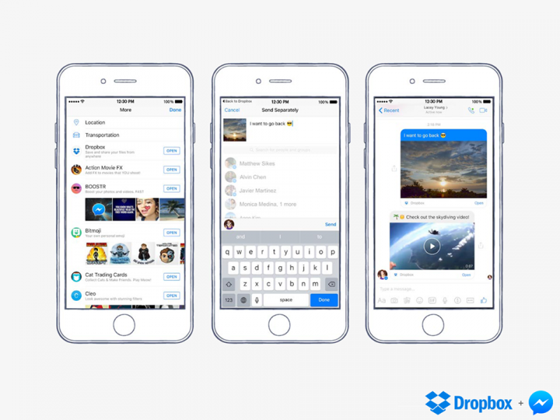 How to share Dropbox files directly in Facebook Messenger