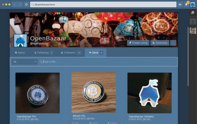 Screenshot of OpenBazaar client.