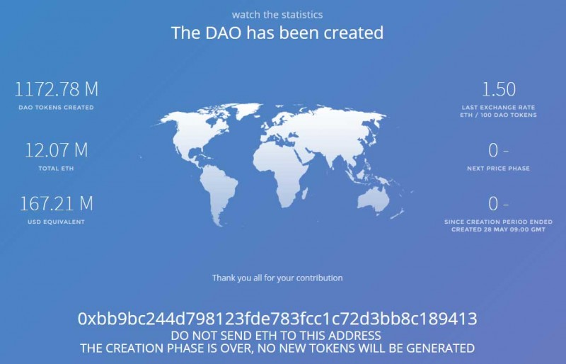 The DAO has been created. image via the DAO website.