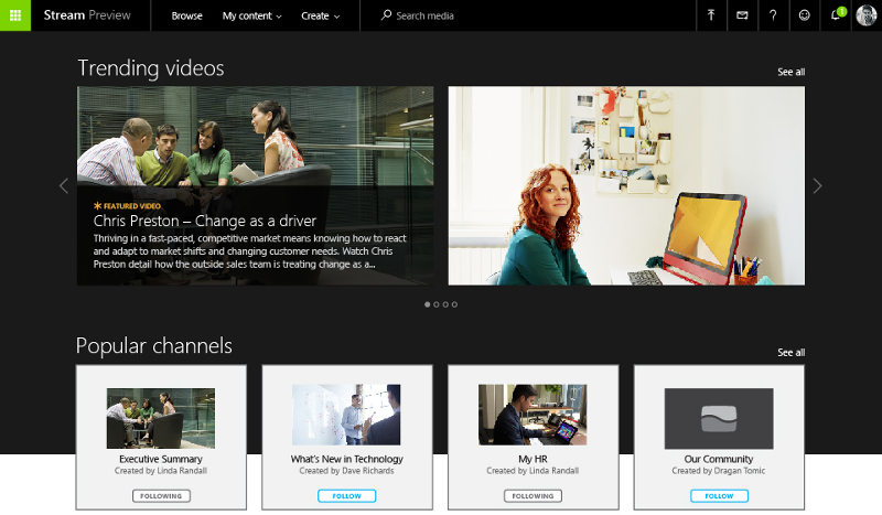 Microsoft Stream is a YouTube-like service for sharing videos in the workplace