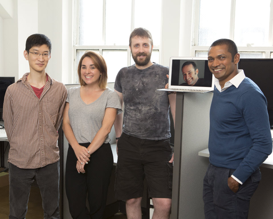 (left to right) Software Tester John Cha, Director of Testing Brandi Colledge, John??? and Co-Founders Art Shectman Rajesh Anandan