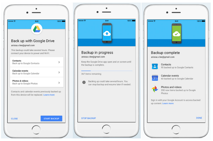 How to use Google Drive to move from iOS to Android
